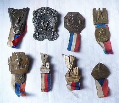 Set of 8 assorted Beautiful Sokol medals badge pins from Czechoslovakia  (s7594)