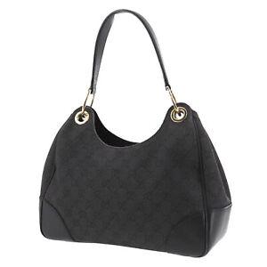 GUCCI Original GG Canvas Shoulder Bag Black Vintage Italy Authentic #SS507 O