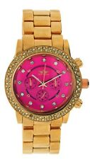 New Softech Rose Gold with Pink Face Diamante Bracelet Analog Wrist Watch Quartz