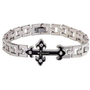 Punk-Men-Women-Silver-Stainless-Steel-Cross-Bracelet-Wristband-Bangle-Cuff-Chain