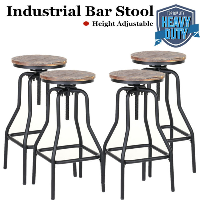 Amazing Set Of 4 Bar Stool Industrial Metal Wood Top Adjustable Height Swivel Usa B4X0 Squirreltailoven Fun Painted Chair Ideas Images Squirreltailovenorg