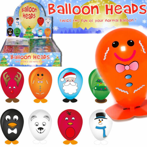 2 Christmas Balloon Character Heads with Stickers Stocking Party Bag Filler Gift