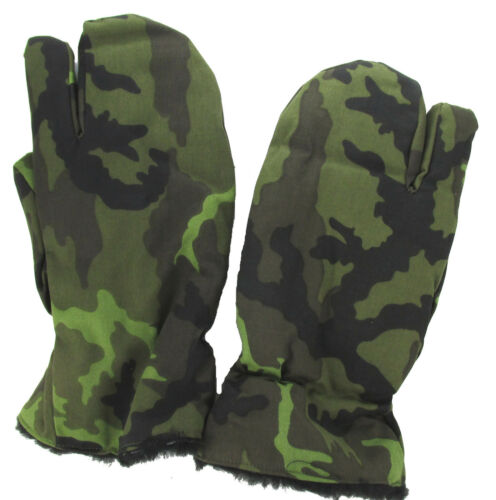 Czechoslovakian Military Winter Gloves Trigger Finger Mittens Woodland Camo
