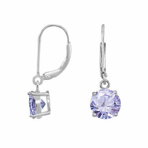 Solid-925-Sterling-Silver-Dangling-Round-Lavender-CZ-Leverback-Earrings