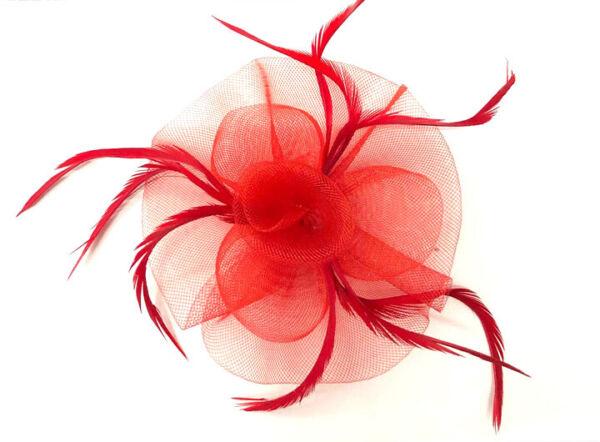 Accurato Ladies Red Feather Beak Clip Fascinator Races Ascot Weddings Sii Amichevole In Uso