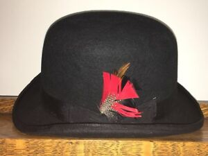 76fb2d99c Details about Scala Classico 100% Wool DERBY Hat Feather Mens Large Black  Bowler L Satin Lined