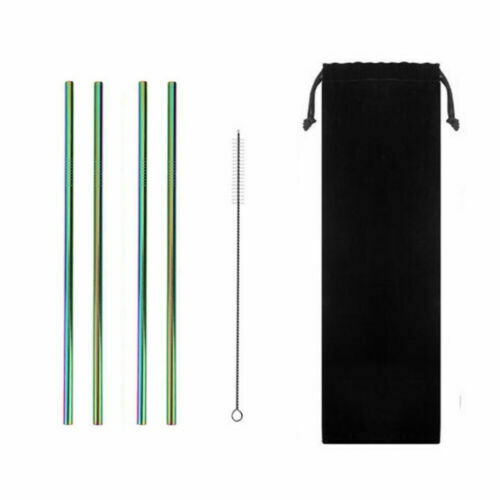 UK Stainless Steel Drinking Metal Straws Reusable Bar Straws Bent Straight Party