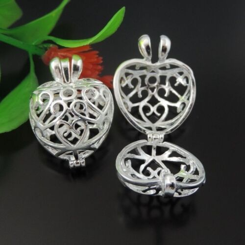 4X  Hot Sale Bright Silver Brass Hollow Heart Charms Pendant Wishing box Lockets