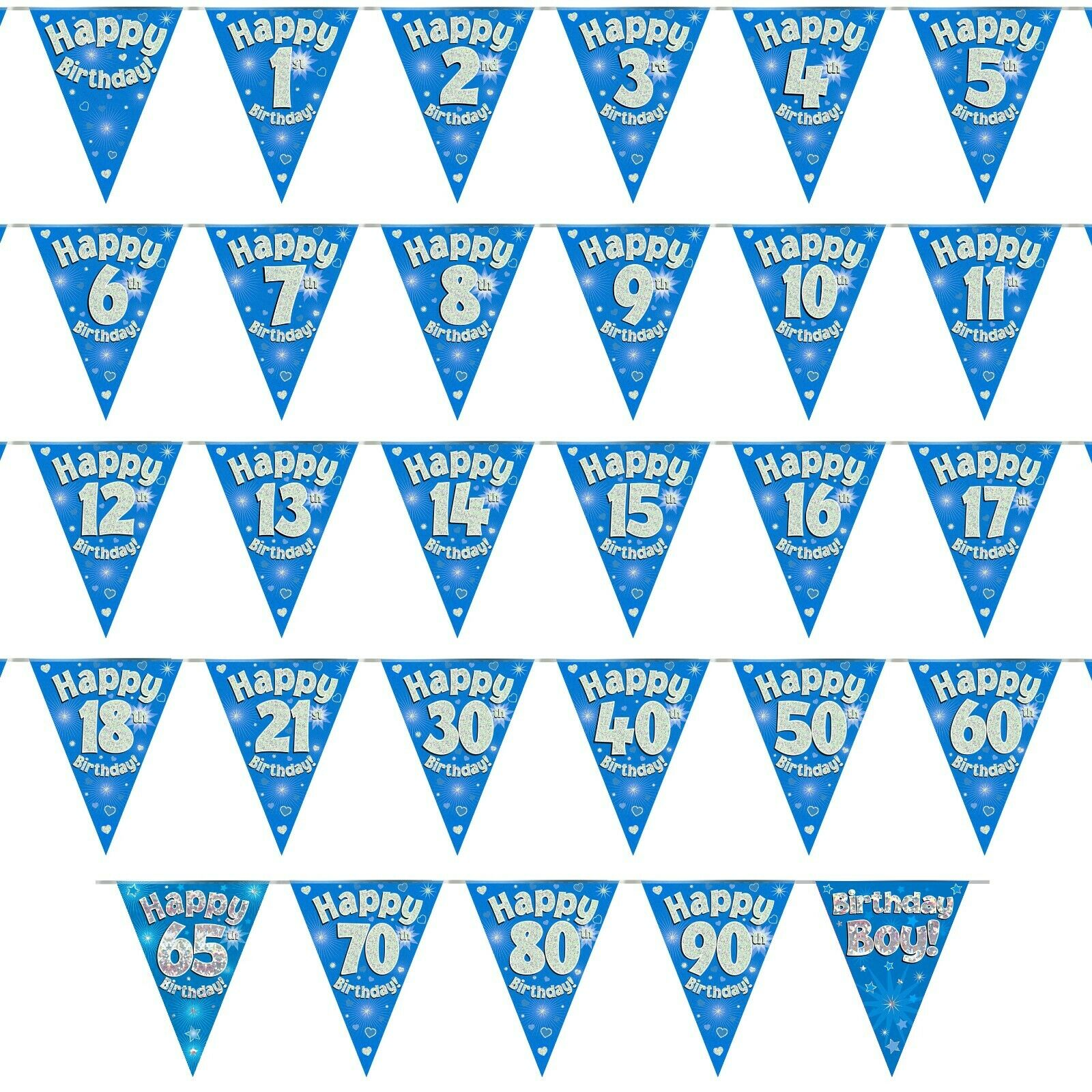 7TH BIRTHDAY PARTY BUNTING BANNER BLUE HOLOGRAPHIC 11 FLAGS 3.9M
