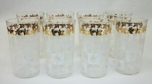 Set-of-8-Mid-Century-Gold-amp-White-Drinking-Barware-Glasses-Swanky-Swigs