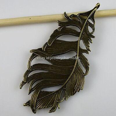 11184 2PCS Alloy Hollow Large Feather Pendant Charms Antique Style Bronze Tone