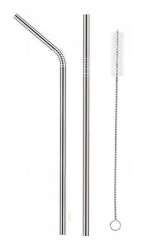 Edelstahl Trinkhalm Strohhalm x2 Metall Halm Getränke wiederverwendbar 6x215 mm
