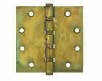 Door Hinge 4-1/2x4-1/2 Sqare Corner Nrp 4 Bb, Solid Brass, Distressed Finishes