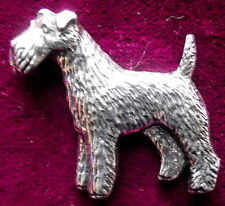 Pewter Airedale Terrier Brooch Pin  Signed