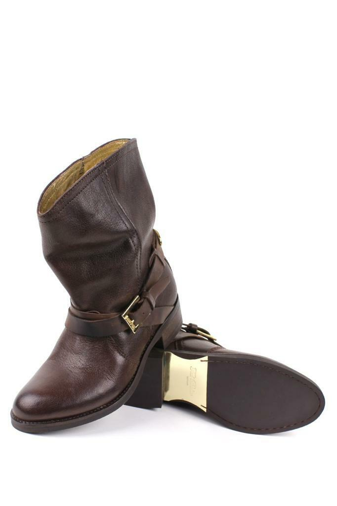 Ted Baker Women's Melbba Dark BROWN Pull On Buckle Straps Ankle Boots shoes NEW