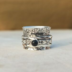 925 Sterling Silver Spinner Ring Wide Band Meditation Statement Jewelry A378