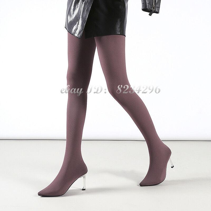 Sexy Mode Hosen Schuhe Damen Overkneestiefel Elastische Stiefelhose Schenkelhoch