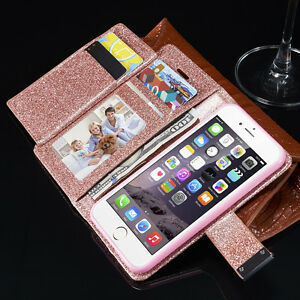 Bling-Glitter-Magnetic-Flip-Cover-Stand-Wallet-Leather-Case-For-iPhone-6s-5s-7-8