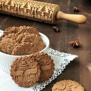 Details About Christmas Baking Cookies Cake Wooden Embossing Rolling Pin Xmas Tree Roller Uk
