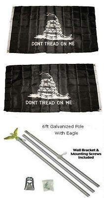 100% Kwaliteit 3x5 Gadsden Dont Tread Black White 2ply Flag Galvanized Pole Kit Eagle Top 3'x5'