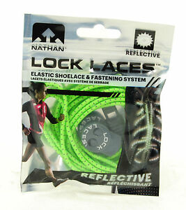 Nathan Lock Laces Shoe String No/Never Tie Running Tri Jogging Reflective Green