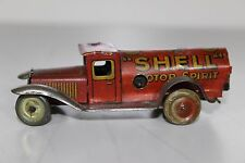 Antique Germany 1920s Georg Fischer Penny Toy Tin Litho Wind Up Shell Oil Truck