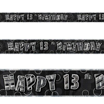 9ft Happy 80th Birthday BLACK GLITZ Prismatic Banner Decoration