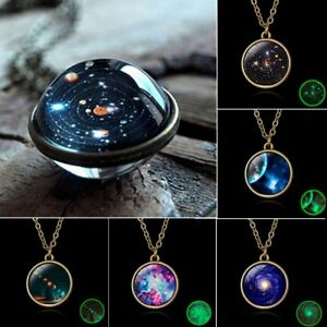 Galaxy-System-Necklace-Pendant-Glow-in-the-Dark-Planet-Double-Sided-Glass-Dome