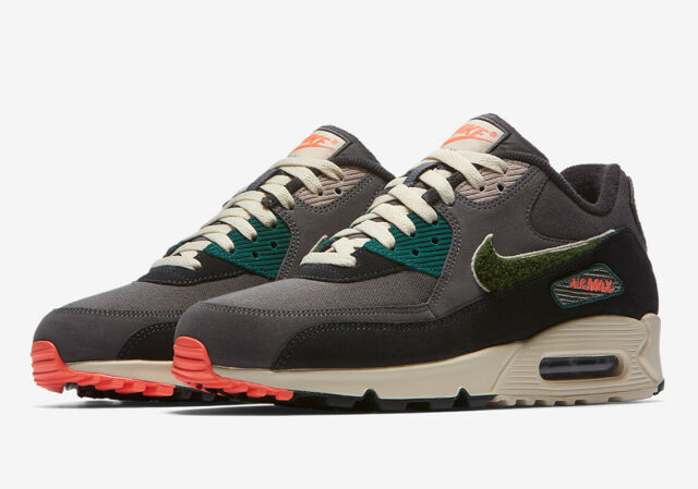 Details about Nike Air Max 90 Premium SE Mens Running Shoes Oil Grey Rain Forest Size 9