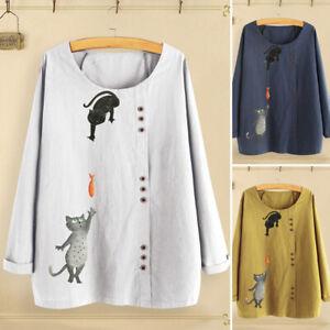 Mode-Femme-Haut-Shirt-Tops-Mignon-Manche-Longue-Col-Rond-Imprime-Coton-Plus