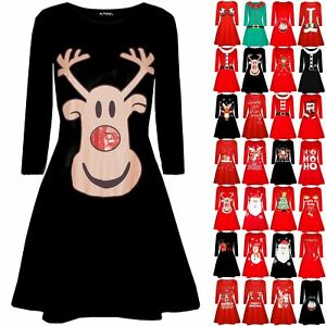 Womens-Oh-Deer-Christmas-Xmas-Flared-Rudolph-Reindeer-Ladies-Swing-Mini-Dress