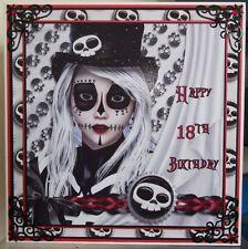 Gothic sugar skull personalised birthday card envelope ebay handmade gothic personalised 18th birthday card a teenager day of the dead skull bookmarktalkfo Gallery