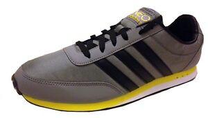 adidas-da-uomo-V-Racer-Nylon-Scarpe-sportive-q38935-GRIGIO-Nero-Giallo-UK-7-5