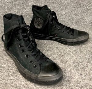 c9220074efab Details about Converse Chuck Taylor All Star Mens Size 7 Womens 9 Black  Mono Hi Top Sneakers
