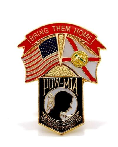 Wholesale Lot of 12 POW MIA Shield USA and Florida Flags Lapel Hat Pin PPM013