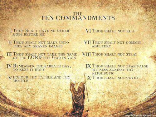 """Ten Commandments PICTURE CANVAS WALL ART 16/""""X12/"""""""