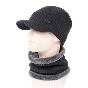 e32d6aa54d5 2Pcs Scarf Hat Mens Winter Warm Knit Baseball Cap Visor Brim Beanies ...