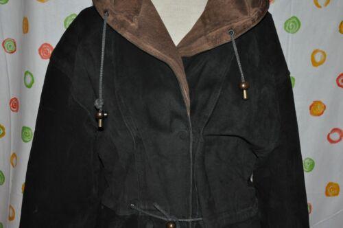 Classic Læder Suede Medium Chic Euc Frakke Ada Kvinders Black Hætte Med qw1f7F8x