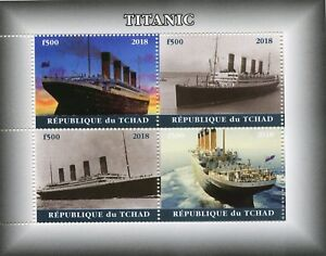 Chad 2018 MNH Titanic 4v M/S I Boats Ships Nautical Stamps