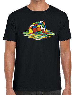 Melting Rubik Cube Hilarious Unisex T-Shirt Rubix Cube Games Parody Retro