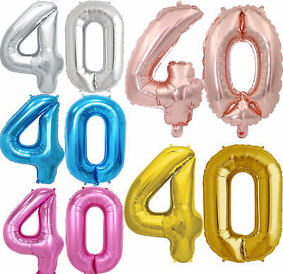 40/'/' Foil Number Balloons Self Inflating Birthday Age Party Wedding Decor UK
