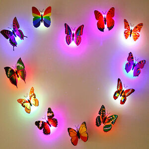 Butterfly LED Lights D Wall Stickers Home Bedroom Night Light Vinyl - Butterfly lights for bedroom