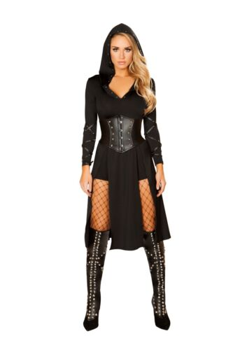Roma The Queens Assassin Ninja Game of Thrones Black Hooded Dress Costume 4845