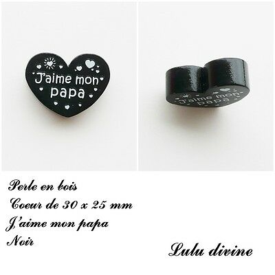Perle en bois de 30 x 25 mm Violet J/'aime mon papa Perle plate Coeur