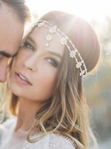Image Is Loading Missgrace Crystal Bohemian Women Head Chain Wedding Party