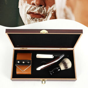 440C-Steel-Cut-Throat-Antique-Straight-Razor-Shaving-Brush-Strop-Wooden-Box