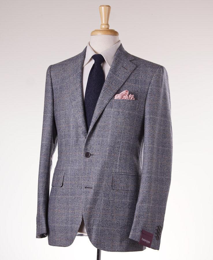 NWT 2795 SARTORIA PARTENOPEA Slate Blau Plaid Wool Sport Coat 40 R (Eu 50)