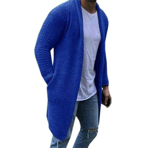 Mens Winter Knitted Long Cardigan Sweater Jumper Casual Tops Jacket Coat Outwear