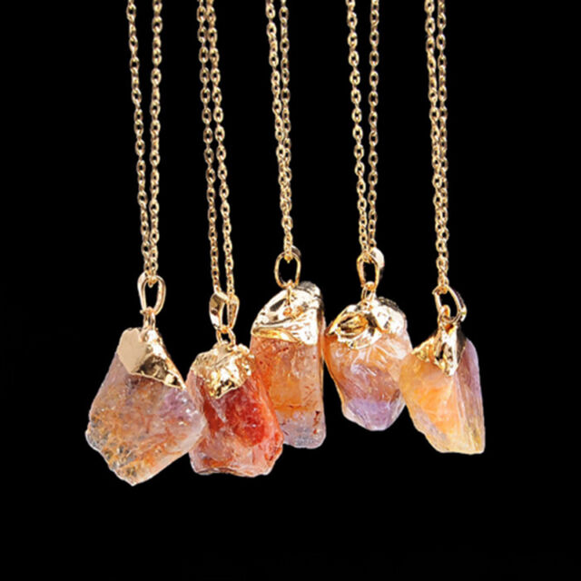 Fashion Natural Crystal Quartz Stone Gemstone Pendant Womens Irregular Necklace