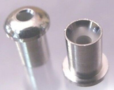 6 SMALL CHROME STRING FERRULES OR BUSHINGS FOR GUITAR